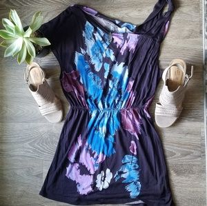 Free People Asymmetric Purple Floral Dress Small